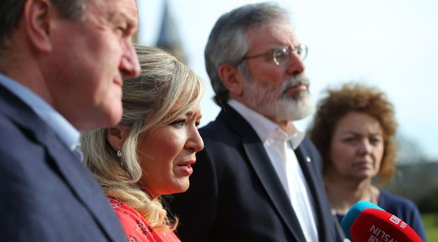 Sinn Fein leaders Gerry Adams and Michelle O'Neill pictured at Stormont Castle after they announced that they will not nominate a speaker or deputy First Minister. Photo by Kelvin Boyes / Press Eye