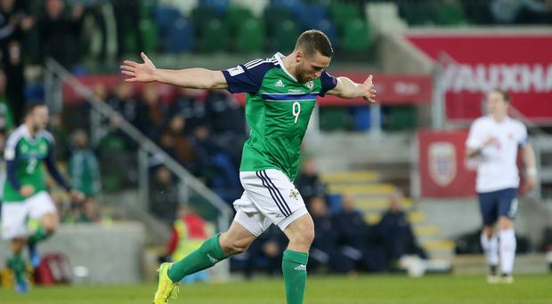 Northern Ireland's Conor Washington celebrates after scoring to make it 2-0. Picture by Jonathan Porter/PressEye.com