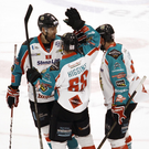 Victorious: Giants star Chris Higgins celebrates his goal