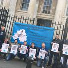 Fathers' Rights campaigners outside Derry Magistrates Court