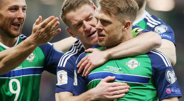 Northern Ireland's Jamie Ward celebrates after scoring to make it 1-0. Picture by Jonathan Porter/PressEye.com