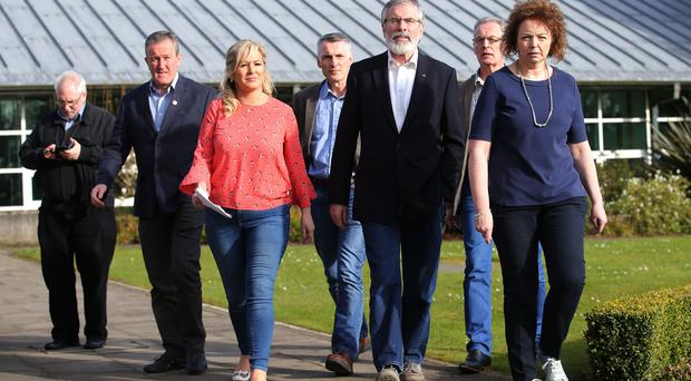 Press Eye - Belfast - Northern Ireland - 26th March 2017 Sinn Fein leaders Gerry Adams and Michelle O'Neill pictured at Stormont Castle this afternoon after they announced that they will not nominate a speaker or deputy First Minister. Photo by Kelvin Boyes / Press Eye