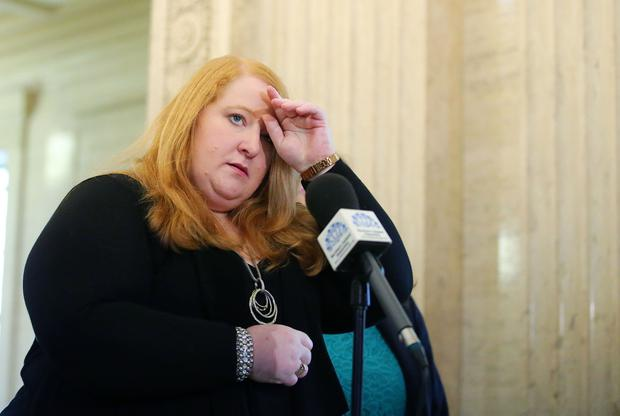 Alliance Party leader Naomi Long and party colleagues pictured during a press conference at Parliament Buildings Stormont. Photo by Kelvin Boyes / Press Eye