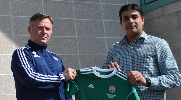 Former Carrick Rangers and Donegal Celtic boss Stephen Small (left) with SUBWAY's Muhammad Atif