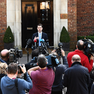 Secretary of State James Brokenshire speaks to media at Stormont yesterday