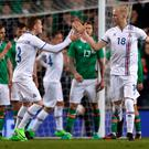 Iceland's Hordur Bjorgvin Magnusson (right) celebrates scoring his side's first goal of the game with Aron Sigurdarson during the International Friendly match at the Aviva Stadium, Dublin. PA