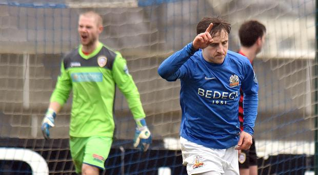 Goal-den boy: Glenavon's Joel Cooper after scoring against Coleraine earlier this month in an Irish Cup dress rehearsal
