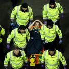 Horror: Republic ace Seamus Coleman is stretchered off