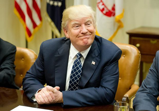 US President Donald Trump makes remarks as he hosts a listening session with the Fraternal Order of Police in the Roosevelt Room of the White House on March 28, 2017 in Washington, DC. (Photo by Ron Sach-Pool/Getty Images)