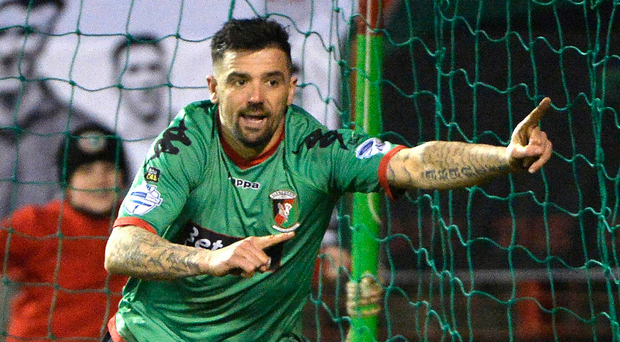 Final act: Nacho Novo celebrates his Friday night Glens winner against Carrick but it looks like too little, too late from the former Rangers star