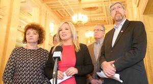 Sinn Fein Stormont leader Michelle O'Neill leads some of her party colleagues as she addresses the media in the Great Hall at Parliament Buildings, east Belfast, as Article 50 is triggered. Picture by Jonathan Porter/PressEye.com