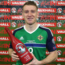 New direction: Steven Davis with Vauxhall man of match award after the Norway game