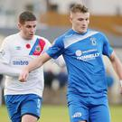Watchful eye: Linfield ace Mark Haughey tracks Dungannon Swifts' Andrew Mitchell during a clash in November