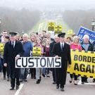Border Communities Against Brexit hold a protest at Stormont