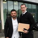 Verdict: Nacho Novo and Glentoran boss Gary Haveron at Windsor Park ahead of last night's appeal hearing