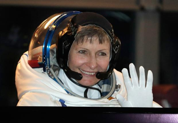 File photo of US astronaut Peggy Whitson (Nov. 17, 2016, AP Photo/Dmitri Lovetsky, Pool)