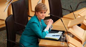 Nicola Sturgeon at First Minister's Questions at the Scottish Parliament in Edinburgh. PA