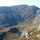 Photo issued by North Wales Police showing the location (circled) in the Rhinog Mountains of Snowdonia, where the bodies of all five victims who died when their helicopter crashed have been recovered by rescue workers. PA