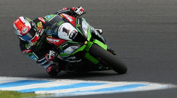 Leading man: Jonathan Rea maintained his good form in Spain yesterday