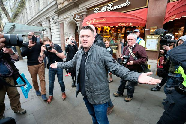 Former spokesman and leader of the English Defence (EDL) LeagueTommy Robinson in Trafalgar Square in London, during a counterprotest by UAF (Unite Against Fascism) against Britain First and EDL marches. PA