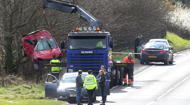 The scene on the Saintfield Road outside Crossbar in Co. Down where a man died after a one vehicle accident in the early hours of Sunday morning. Pic by Jonathan Porter - PressEye