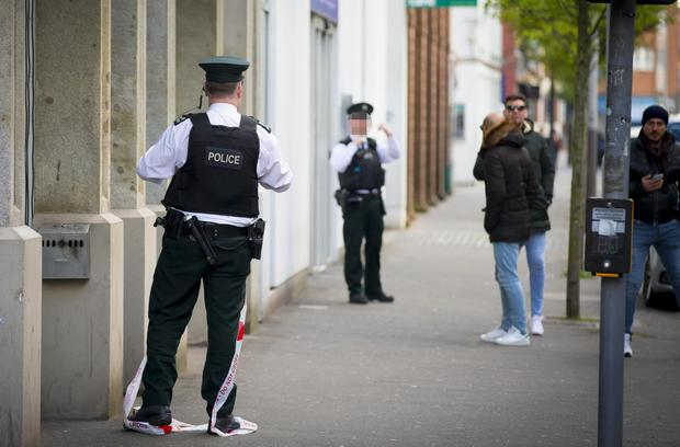 Police officers at the scene of a murder in Belfast City Centre following an altercation close to the Northern Whig on April 2nd 2017 (Photo - Kevin Scott / Belfast Telegraph)