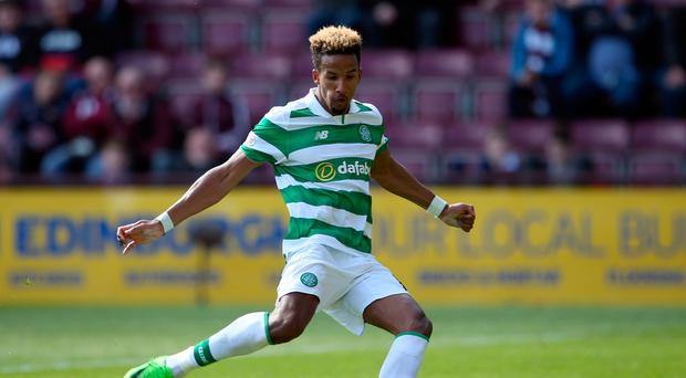 Celtic's Scott Sinclair scores his side's fifth goal of the game from the penalty spot and completes his hat-trick during the Ladbrokes Scottish Premiership match at Tynecastle Stadium, Edinburgh. PA