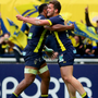 Making gains: Clermont Auvergne's Peceli Yato with try scorer Damien Penaud