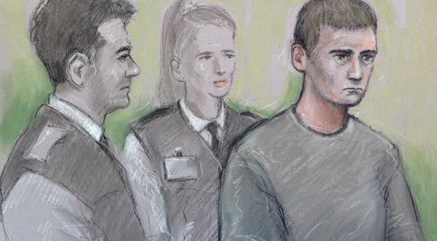 Court artist sketch of Aaron Barley (right) in the dock yesterday