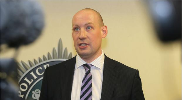 Detective Chief Superintendent Tim Mairs at a police media briefing after five deaths in Northern Ireland since Friday which the police believe could be linked to drugs misuse.