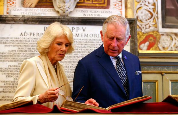 Britain's Prince Charles and his wife Camilla, Duchess of Cornwall visit the Vatican Apostolic Library on April 4, 2017 before a private audience with Pope Francis. / AFP PHOTO / POOL / ALESSANDRO BIANCHIALESSANDRO BIANCHI/AFP/Getty Images