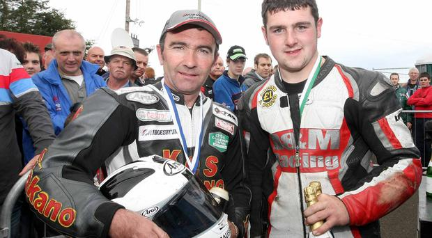Robert with Michael at the Ulster Grand Prix at Dundrod in 2007