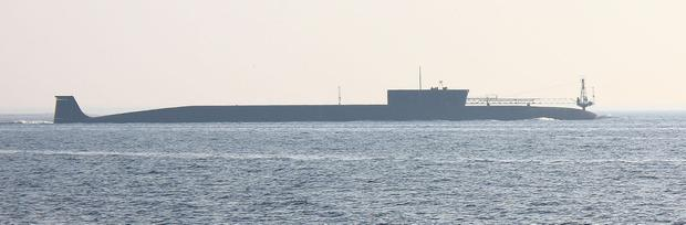 Russian nuclear submarine, Yuri Dolgoruky, is seen during sea trials. Image: Schekinov Alexey Victorovich/Wikipedia