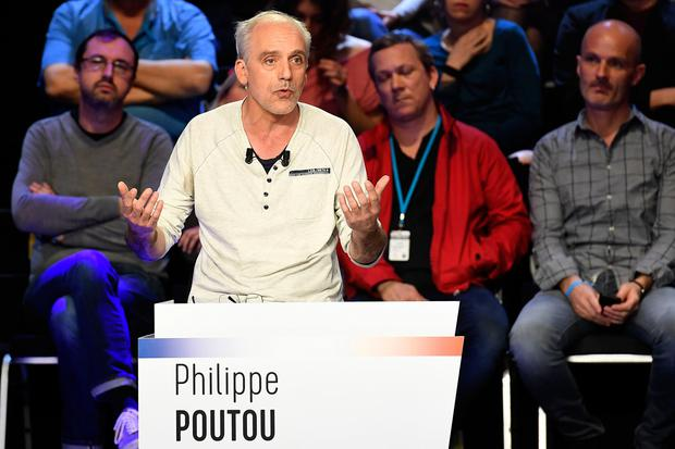 French presidential election candidate for the far-left New Anticapitalist Party (NPA) Philippe Poutou speaks during a debate organised by the French private TV channels BFM TV and CNews, between the eleven candidates for the French presidential election, on April 4, 2017 in La Plaine-Saint-Denis. / AFP PHOTO / POOL / Lionel BONAVENTURELIONEL BONAVENTURE/AFP/Getty Images