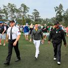 Chilled out: Rory McIlroy is calm and collected as he walks off the Augusta course after his final practice round. Photo: Andrew Redington/Getty Images