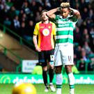 Spot of bother: Scott Sinclair reacts after his penalty miss. Photo: Jane Barlow/PA