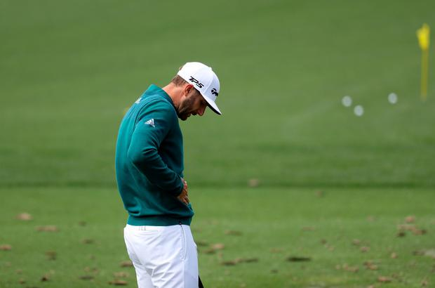 Dustin Johnson of the United States practices on the range prior to his tee time for the first round of the 2017 Masters Tournament at Augusta National Golf Club on April 6, 2017 in Augusta, Georgia. (Photo by Rob Carr/Getty Images)