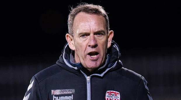Looking up: Kenny Shiels wants Derry to raise the bar. Photo: Tom Beary/INPHO