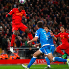Aiming high: Divock Origi is focusing on the positives after his header turned out not to be a winner. Photo: Clive Brunskill/Getty Images