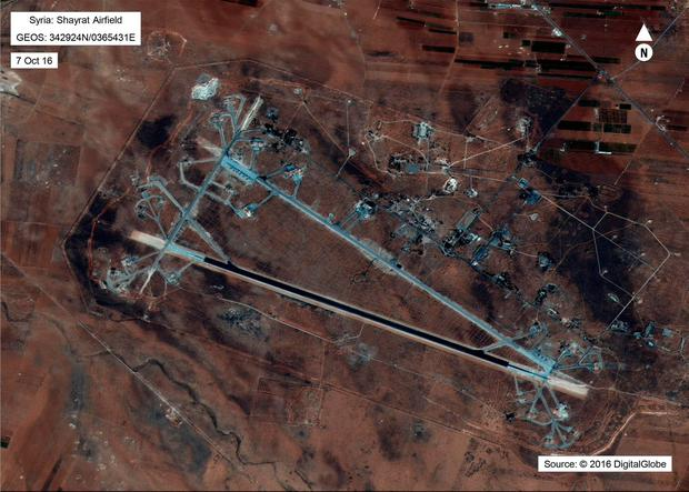 This image released by the US Department of Defense, shows the Shayrat airfield in Syria on October 7, 2016.