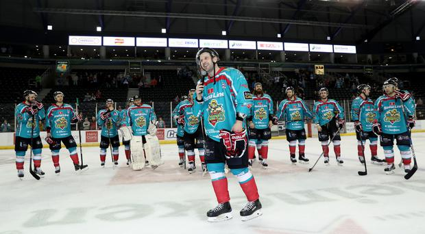 Talking trophies: Giants coach Derrick Walser speaks to the fans after last Saturday night's final home game. Photo: William Cherry/Presseye