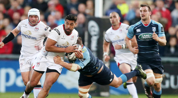 Running man: Charles Piutau on the charge for Ulster against Cardiff last night at the Kingspan. Photo: Darren Kidd/Presseye