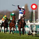 One For Arthur ridden by Derek Fox crosses the line to win the Randox Health Grand National on Grand National Day of the Randox Health Grand National Festival at Aintree Racecourse. David Davies/PA Wire
