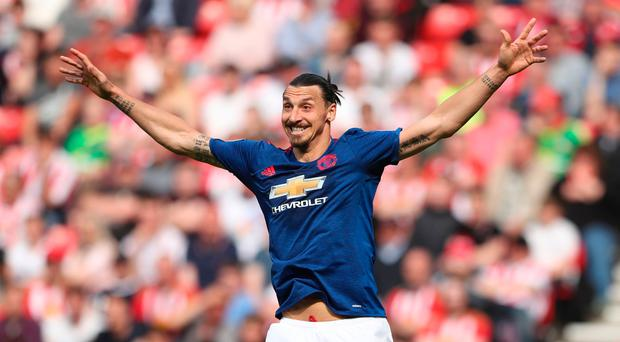 Manchester United's Swedish striker Zlatan Ibrahimovic gestures during the English Premier League football match between Sunderland and Manchester United at the Stadium of Light in Sunderland, north-east England on April 9, 2017.