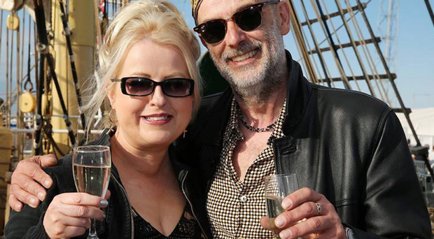 Toasting life: Frances with her new partner Mark