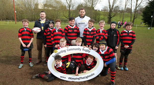 Mini marvels: Ulster player Darren Cave (centre, back) at Armagh's 2016 Mini Rugby Festival