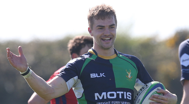 Key score: Hinch's Aaron Cairns celebrates his try against UL Bohemians on Saturday