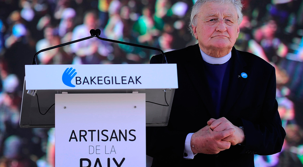 Rev Harold Good addresses a rally to celebrate the announcement of disarmament by Eta in Bayonne on Saturday