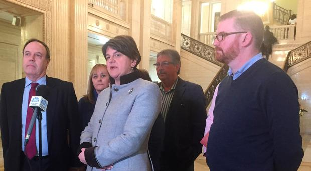 DUP leader Arlene Foster speaking in Great Hall of Parliament Buildings, Belfast