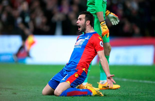 Crystal Palace's Luka Milivojevic celebrates scoring his side's third goal of the game during the Premier League match at Selhurst Park, London. PA
